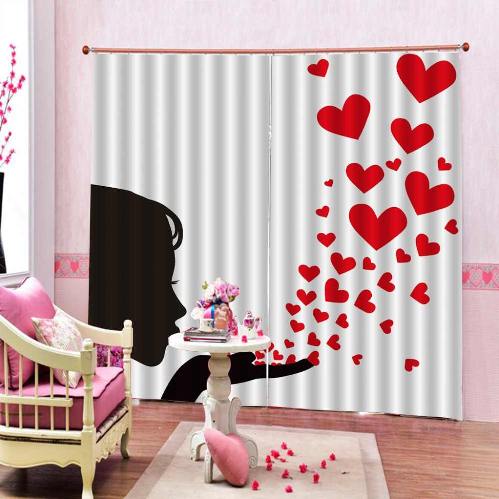 European 3D Curtains angel design Curtains For Living Room Bedroom girl curtains heart curtain
