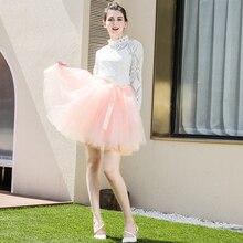 Tulle Skirt Belt Tutu Lolita-Petticoat Knee-Length Womens Fashion with Saia Faldas Jupe