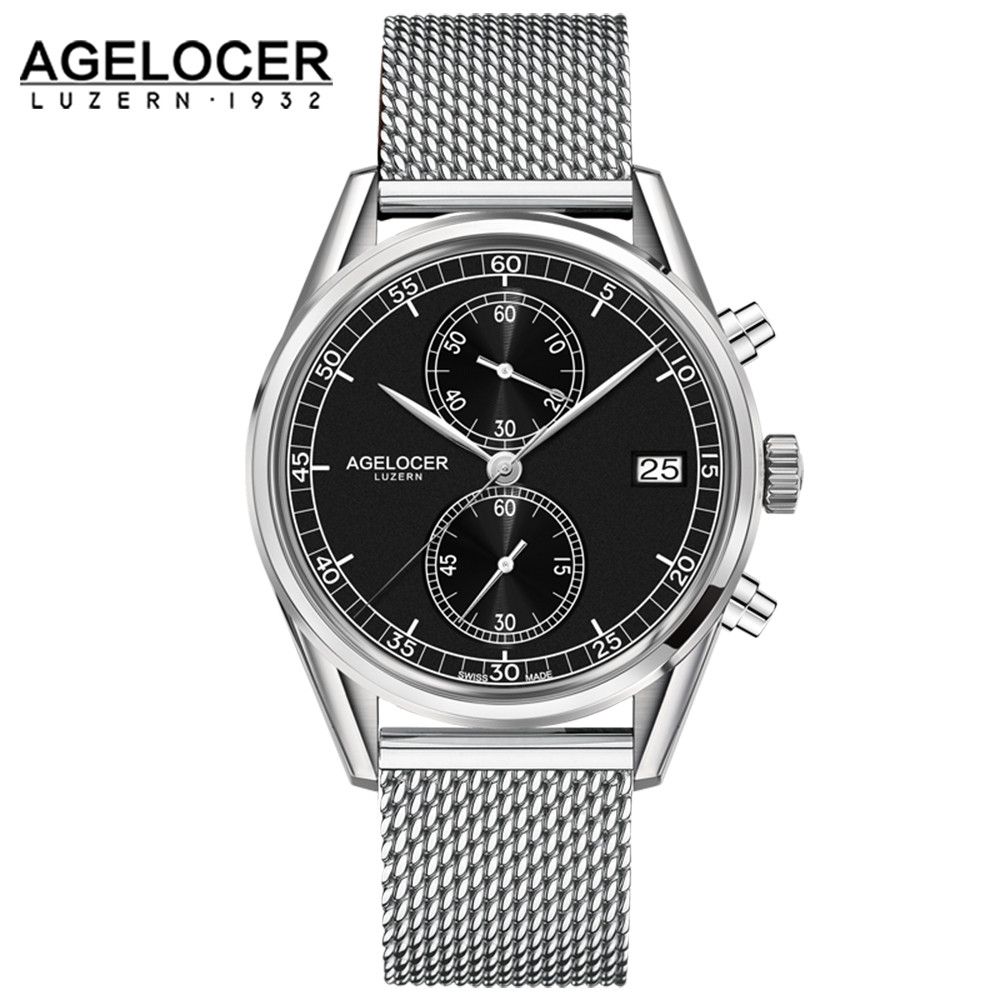 Agelcoer Male Stainless Steel Chronograph Wrist Sport Watch Date Clock Casual Quartz Watch Men Relogio Masculino Waterproof 50m wwoor waterproof ultra thin date clock male stainess steel strap casual quartz watch men wrist sport watch 3 colors