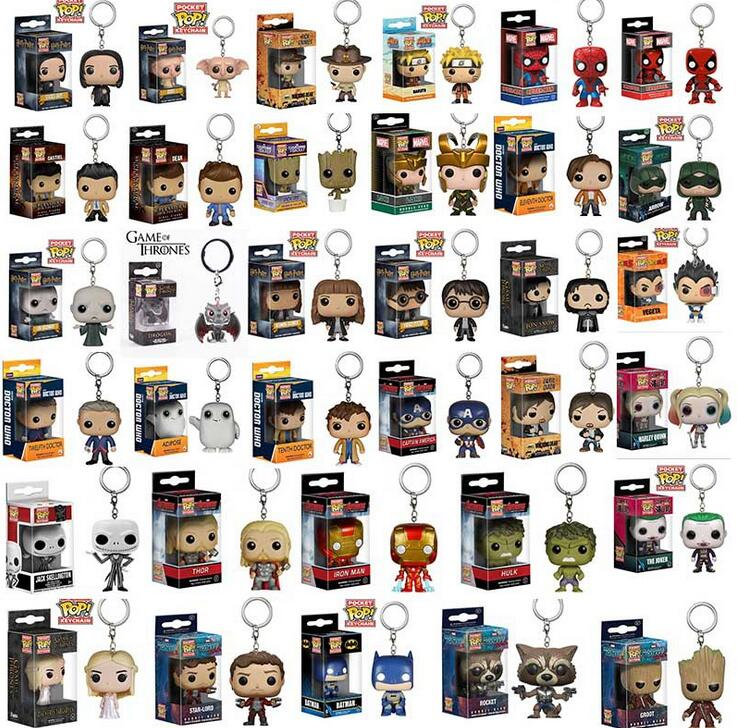 34 models popo Funko Spider Men Figure Doll Key Chain Theme Action Figure Collectible Model Walking Dead Nick Keyring With Box