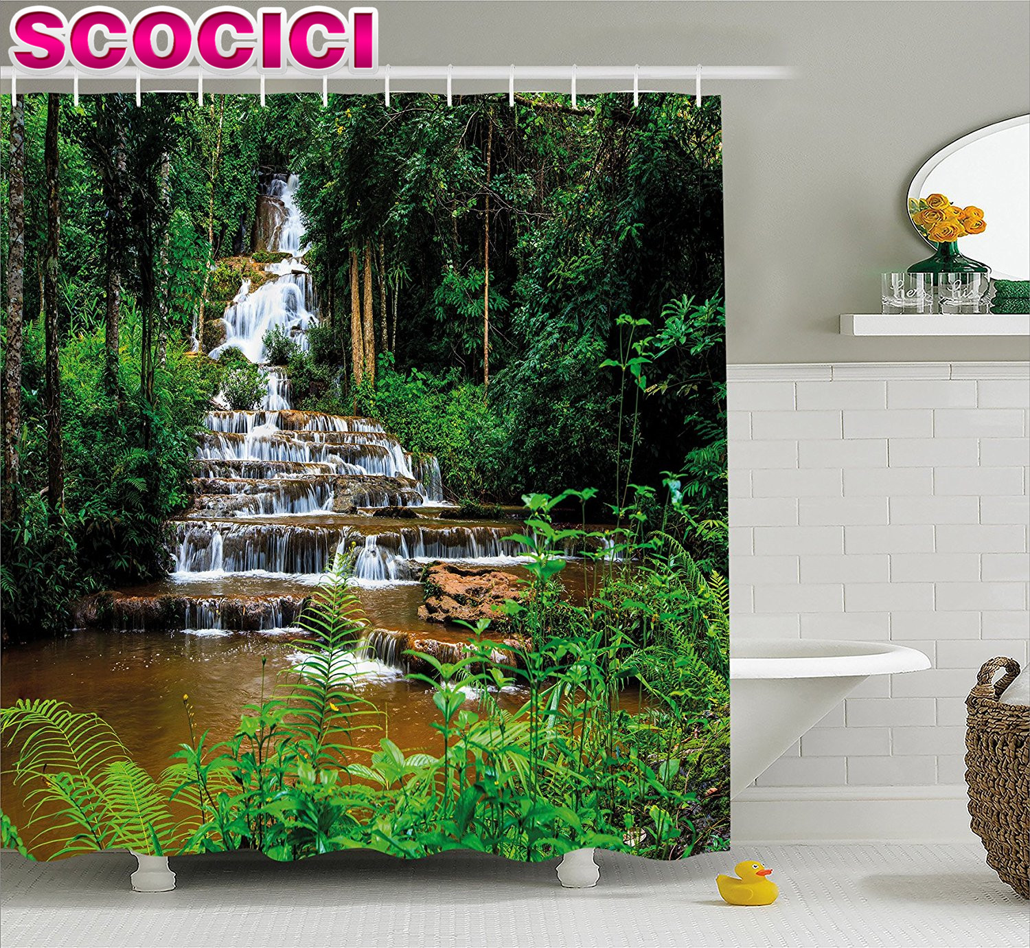 Waterfall Decor Shower Curtain Long Way Waterfall In Tropic Rainforest With  Exotic Botanic Trees And Bushes Fabric Bathroom Deco