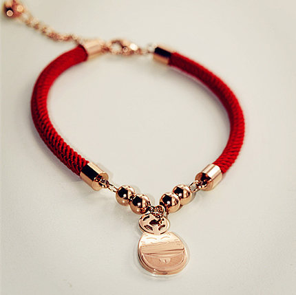 Corde rouge tissage Fortune chat chanceux Bracelet bijoux fins en - Bijoux fantaisie - Photo 2
