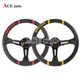 Ace speed-Hight quality For MOMO steering wheel Driftring  leather 14 inch Red and Yellow line Provide choice