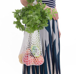 Frauen Einkaufen Mesh Taschen Mehrweg Obst String Lebensmittel Shopper Baumwolle Tote Mesh Gesponnene Net Bequem Lagerung Schulter Tasche