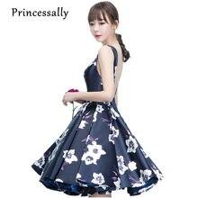 869277914 Princesa nueva azul marino Vestidos de dama de honor longitud de la rodilla  satén flor patrón sexy backless país novia prom vest.