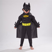 New Arrival Kids Deluxe Muscle Dark Knight Batman Child Halloween Party Fancy Dress Boys Superhero Carnival