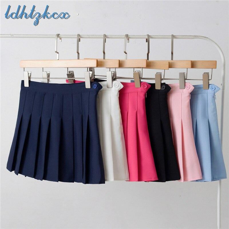 06246e373 Mini falda para mujer XS-2XL tallas grandes faldas plisadas 2019 Primavera  Verano nueva moda coreana dulce delgada cremallera botón Chic falda CX623