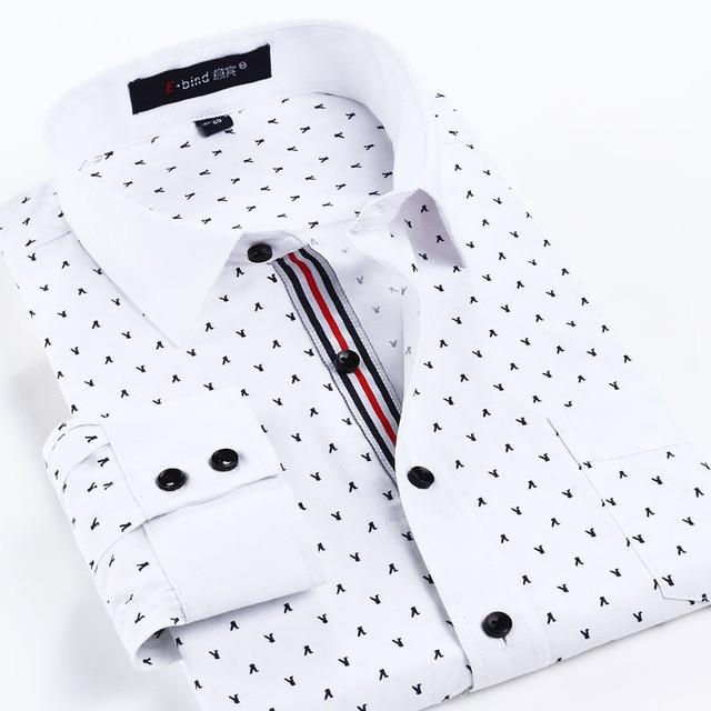 Новый 2017 Весна Осень Хлопок Платье Рубашки Высокого Качества Вскользь Рубашка, Повседневная Мужчины Плюс SizeXXXL Slim Fit Социальная рубашки