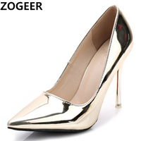 Hot 2018 Spring Autumn Women Pumps Sexy Gold Silver High Heels Shoes Fashion Pointed Toe Wedding Shoes Party Women Shoes