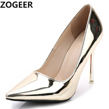 Hot 2019 Spring Autumn Women Pumps Sexy Gold Silver High Hee