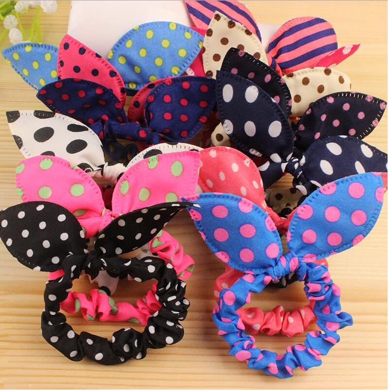 1pcs Hot Sale Fashion Girls Hair Band Mix Styles Polka Dot Bow Rabbit Ears Ring Elastic Hair Rope Ponytail Holder Headwear