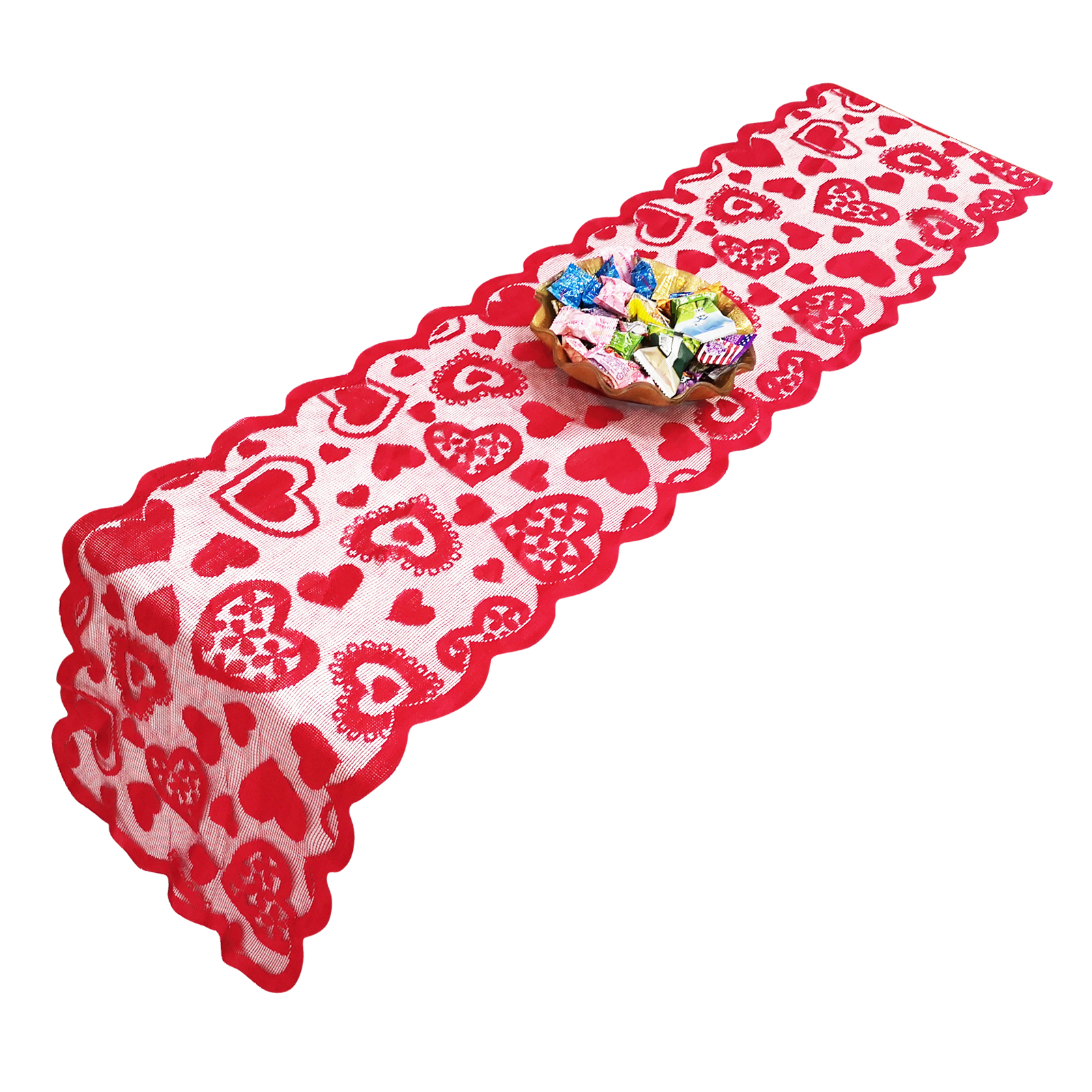 New 33x183cm Heart Pattern Lace Table Runners Valentine's Day Red Love Table Flag Heart Shaped Tablecloth Home & Living Decor