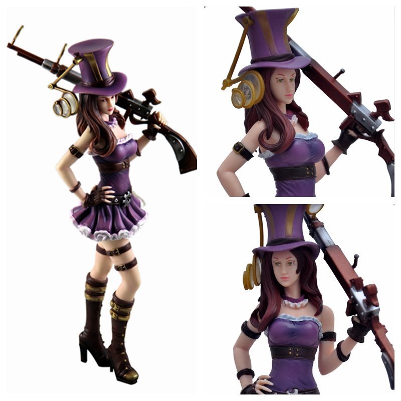 "8""Game League of Legends The Sheriff of Piltover Caitlyn Action Figure Toy Doll Brinquedos Figurals Collection LOL Model Gift"