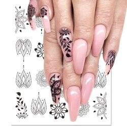 1 piezas negro flor etiqueta engomada del clavo calcomanías de agua hueco tatuaje Flora alas plantillas para decoración de uñas deslizadores manicura BESTZ647