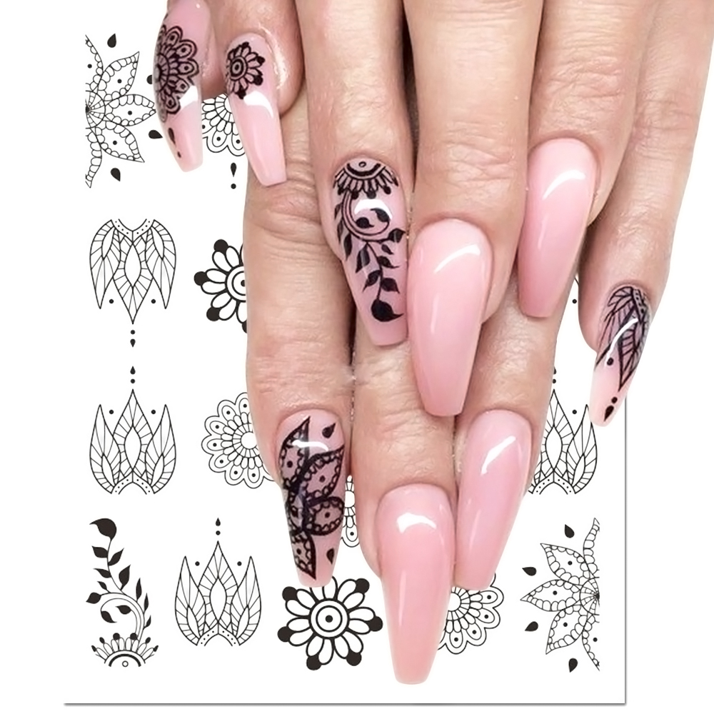1pcs Black Flower Nail Sticker Water Decals Hollow Tattoo Flora Wings Stencils for Nail Art Decoration Sliders Manicure BESTZ647 zko 1 sheet chic pink flower designs nail sticker water decals nail art water transfer stickers for nails 8087