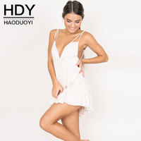HDY 2017 Summer Dress Women Spaghetti Strap Off Shoulder Sexy Backless Hollow Out Mini Dress Pleated