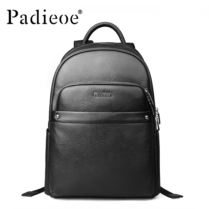 Padieoe Luxury Designer Men Women Backpack Genuine Leather Teenagers School Backpack High Quality Laptop Bag Business Backpack padieoe 2017 genuine leather new fashion men luxury male bag high quality waterproof laptop messenger travel backpack school bag