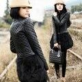 Calidad más tamaño más tamaño mm ropa de invierno de piel de conejo PU ropa de cuero patchwork abrigo de piel