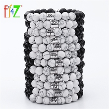 Beads Bracelets Jewelry Matte-Stone Constellation Black 12-Horoscope Vintage White Women