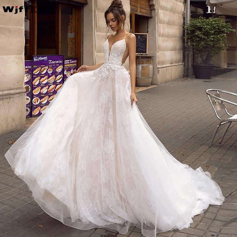 WJFFKS 2019 New Simple Spaghetti Straps Applique Lace A line Wedding Dress vestido de festa longo
