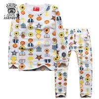 Size 100 140 Cm Children Casual Pajamas Sets Girls Cotton Sleepwear Fashion Printed Kids Long Sleeve