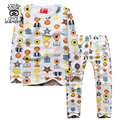 XIAOYOUYU Size 100-140 cm Children Casual Pajamas Sets Girls Cotton Sleepwear Fashion Printed Kids Long Sleeve Underwear Suit