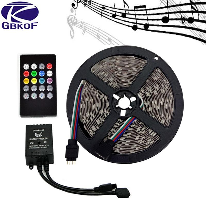 Music LED Strip 5M SMD5050 Waterproof/IP20 RGB Strips LED Strip Light+Music Sound Sensor IR Controller/24keys/44keys Tape