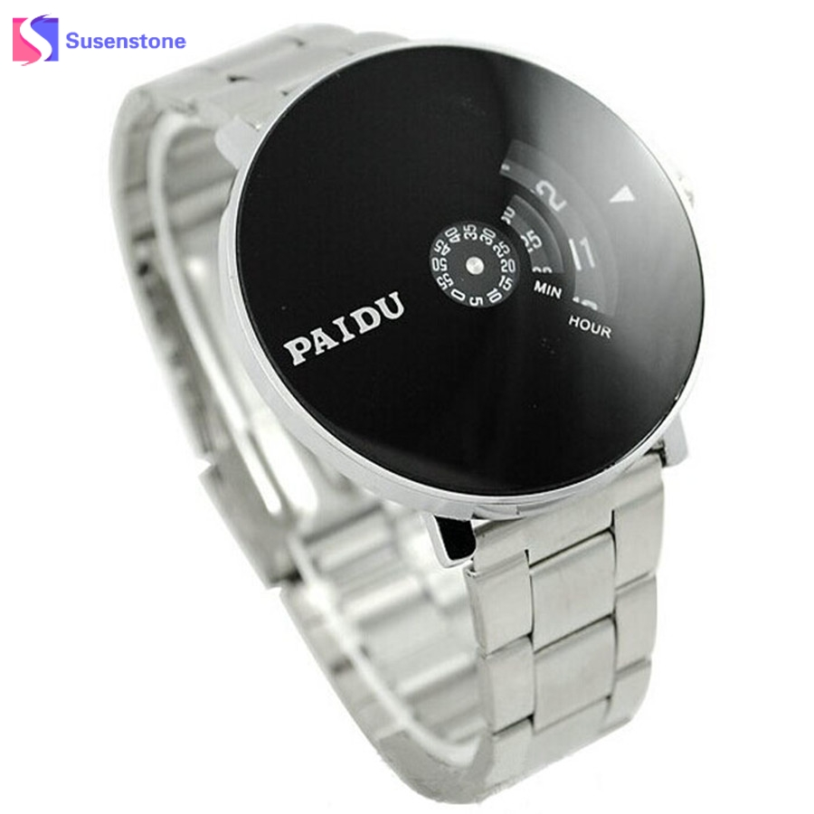 2017 New Design Black Turntable Dial Men Women Watch PAIDU Luxury Stainless Steel Band Silver Quartz Wrist Watch Men's Gift silver band quartz wrist watch turntable black dial clock hours mens womens gifts free shipping