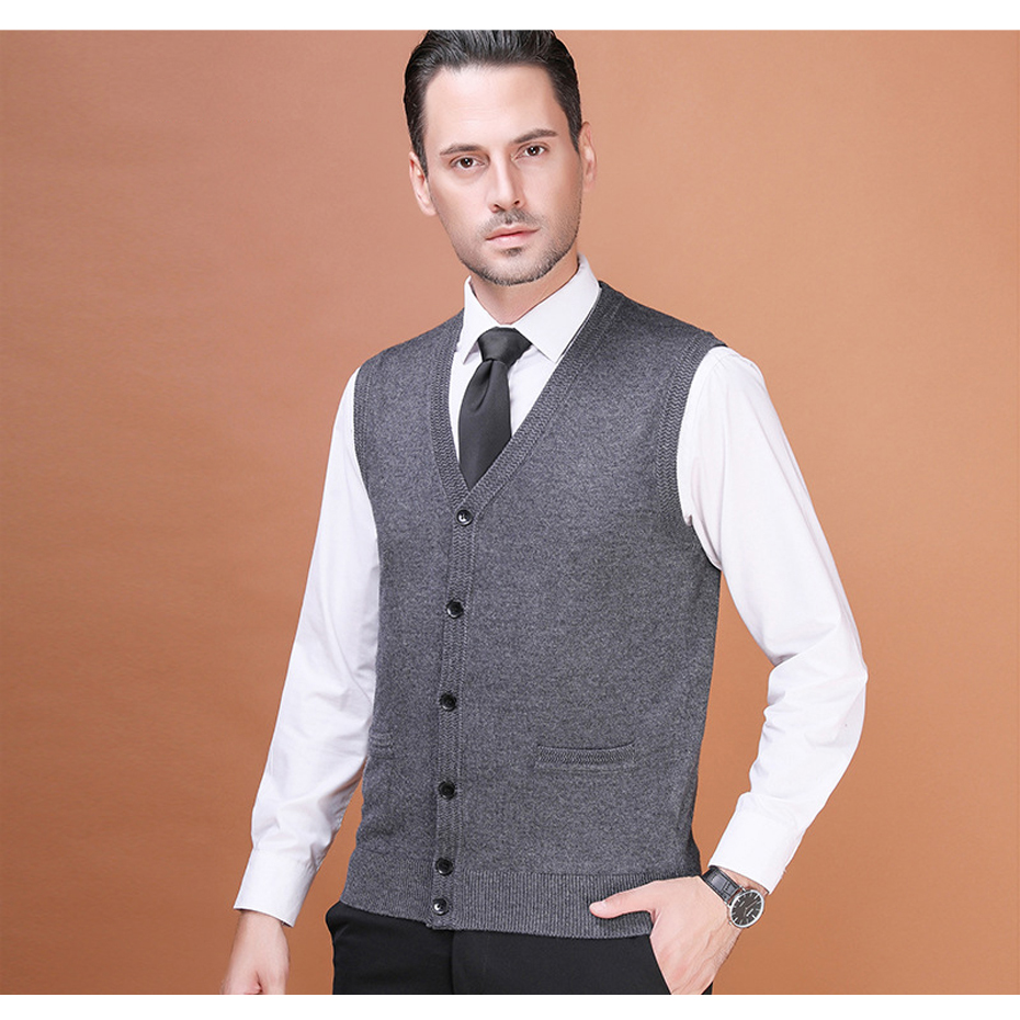 Men's Wool Sweater Cardigan Sleeveless Buttons Down Basic Knit Vest Casual Fashion for Autumn Winter 2017K-8