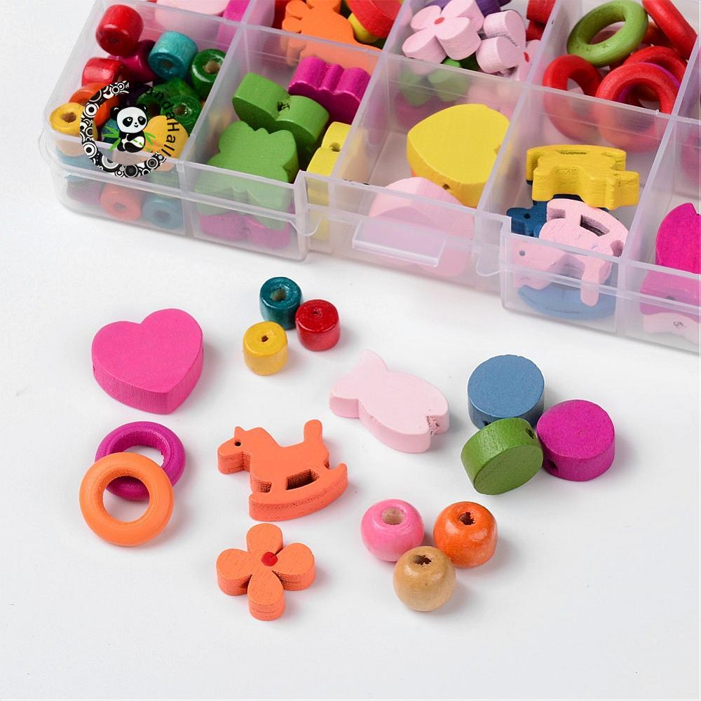 HOT 1Box Mixed Shapes Wood Beads for Jewelry Making Accessories Children Kids Wooden DIY Necklace Mixed