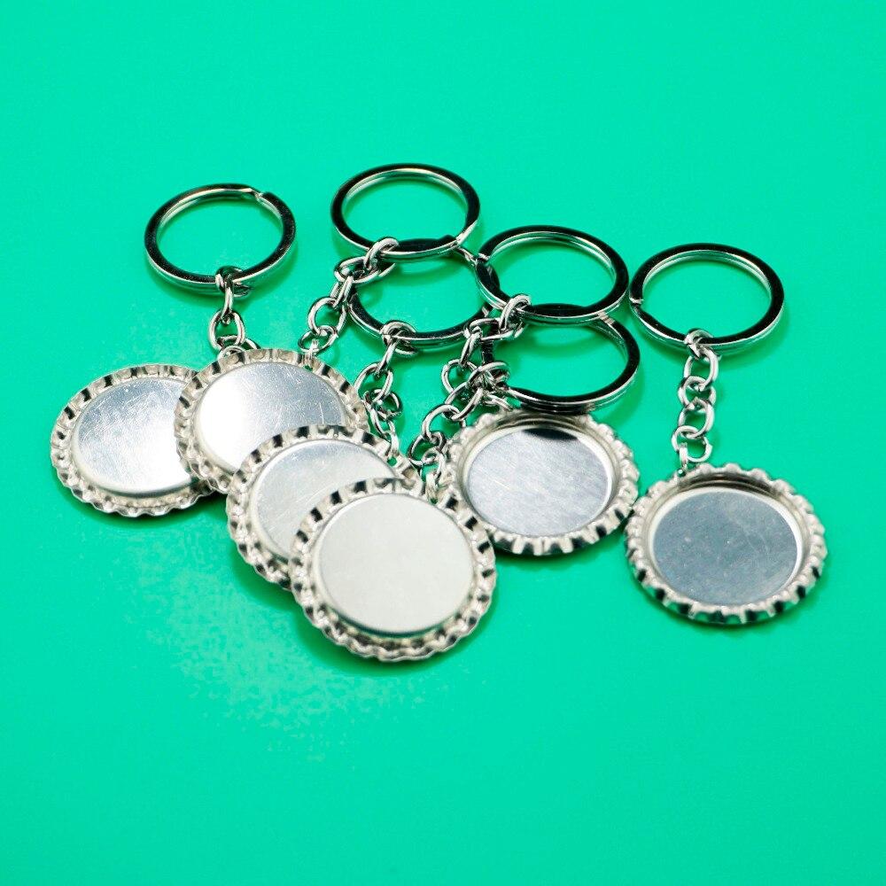 10pcs/lot 1'' Bottlecaps Keychain,SUTOYUEN Sliver Flat Bottle Caps With Key Chains,Flattened Bottlle Cap For DIY Pendant Crafts