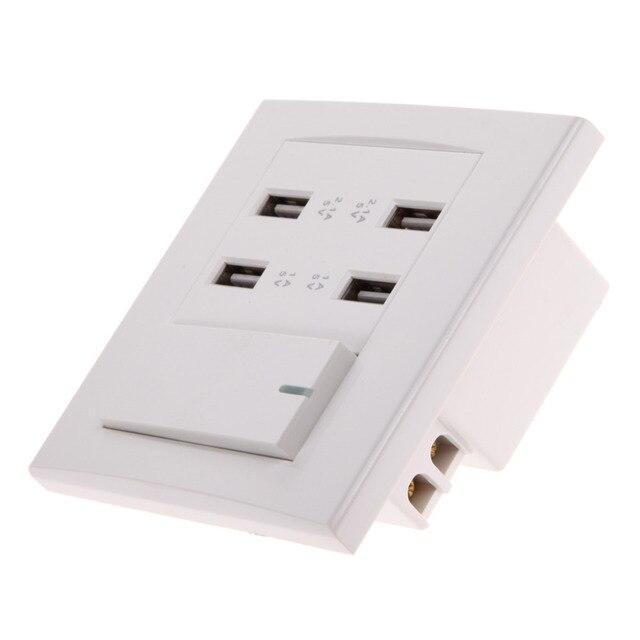Brand New 4 port USB Wall Socket Charger Power AC 110V 250V ...