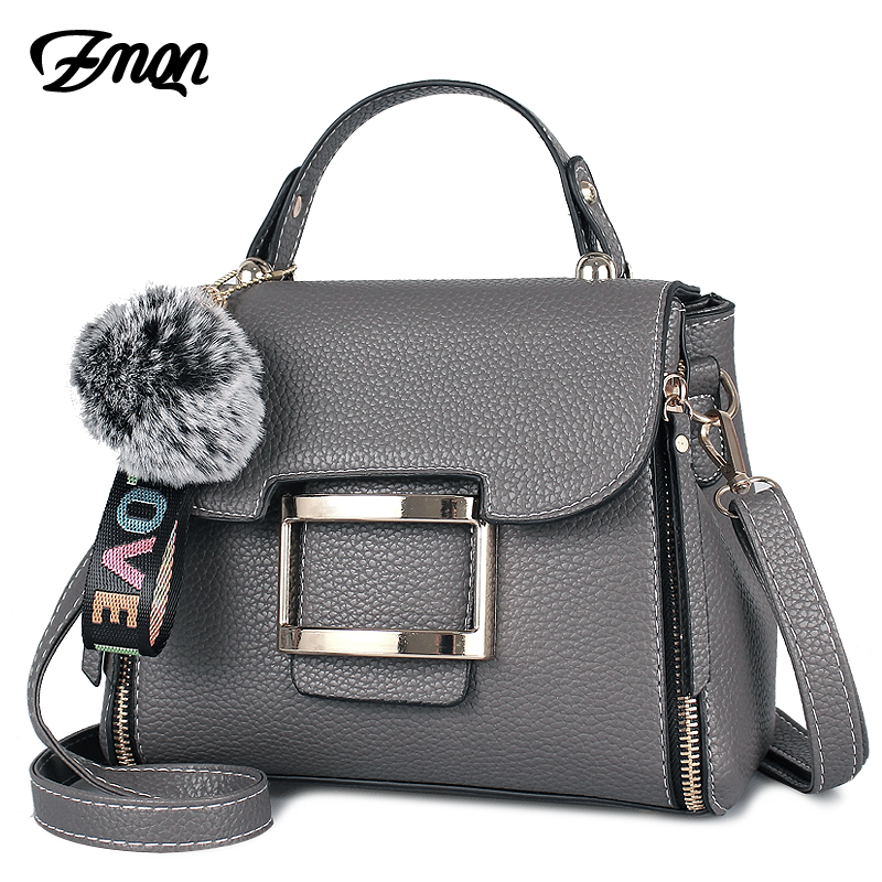 ZMQN Women Crossbody Messenger Bags For 2018 Famous Designer Brand Women Leather Bag Hairball Handbags Ladies Shoulder Bag B315 стоимость