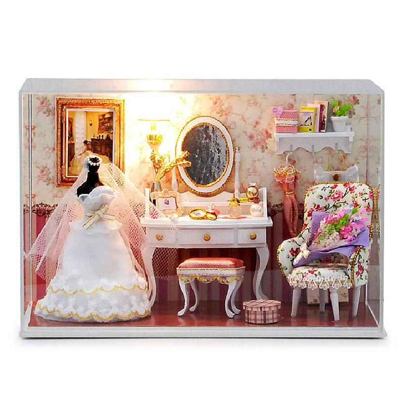 Meubles faits à la main bricolage maison de poupée Kit modèle Miniature avec lumière LED couverture de poussière rêves de filles saint valentin cadeaux cadeau d'amour