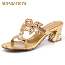 Купить с кэшбэком Fashion Rhinestone Women's Sandals Golden Purple Blue Three Colors Available Crystal Leather Casual Shoes Women Birthday Present
