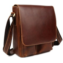 TIDING Men Genuine Leather Vintage Style Crossbody Chest Messenger Shoulder Bag 10285