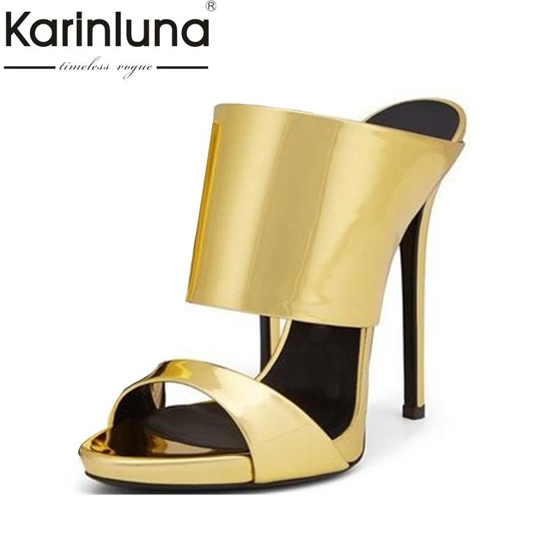 Karinluna Top Quality Big Size 33-43 Thin High Heels Brand Deisgn Summer Shoes Women Mules Pumps Sexy Shoes Woman bonjomarissa 2018 summer big size 33 43 women fashion black wine mules high heels patent pumps slip on shoes woman