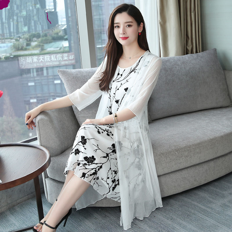 2019 été femmes Cardigan 2 deux-pièces ensemble robe de soirée élégant vintage midi robes Floral faux soie maille rétro femme vêtements