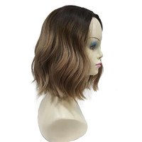 StrongBeauty Wig For Black Women Medium Hair Light Brown Ombre Synthetic Curly Full Wigs