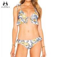PLAVKY 2018 Sexy Floral Xù Lace Up Biquini Chuỗi Bandage Swim Tắm Suit Swimsuit Peplum Đồ Bơi Phụ Nữ Mặc Bikini Brazil