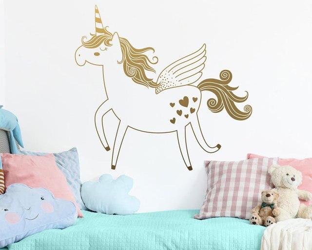 חמוד Unicorn ויניל קיר מדבקות להסרה מדבקת ילדה ילד תינוק חדר גן דקורטיבי קיר מדבקת טפט ER52