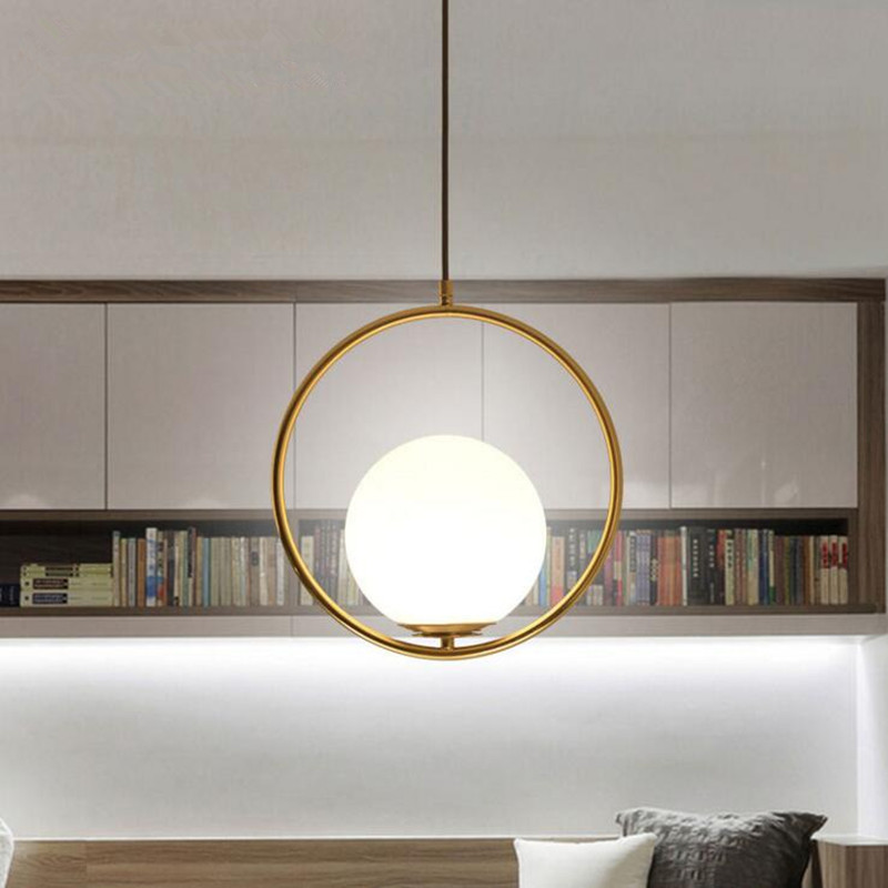 Nordic Creative Restaurant Personality Bedroom Bedside Decor LED Lamp Modern Simple Circular Glass Ball Pendant Light nordic simple white glass pendant lamp modern fashion restaurant bedroom led lighting creative for bar coffee shop lamp