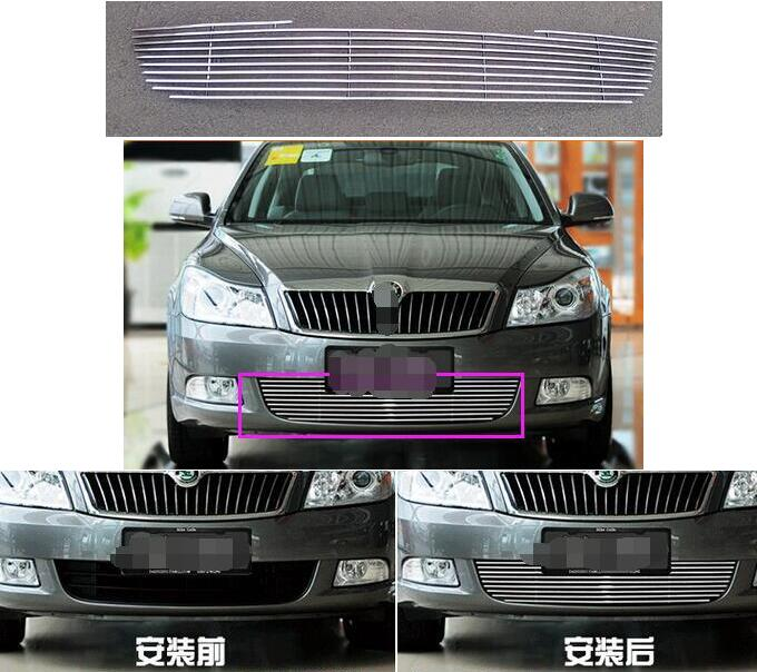 Quality Stainless steel Car front bumper Mesh Grille Around Trim Racing Grills 2010-2014 for Skoda Octavia A17 abs chrome front grille around trim racing grills trim for 2013 hyundai santa fe ix45
