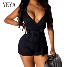 YEYA Women Bodycon Jumpsuits Summer Sleeveless Sexy Deep V-neck Short Overalls Elegant Rompers Playsuit with Waist Belt Macacao black sexy v neck drawstring waist playsuit with zipper