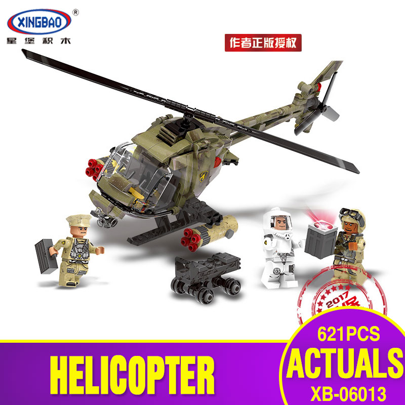 XINGBAO 06013 Genuine Military Series 621Pcs The Fighting Helicopter Set Building Blocks Bricks Funny Christmas Toys As Gift 8 in 1 military ship building blocks toys for boys
