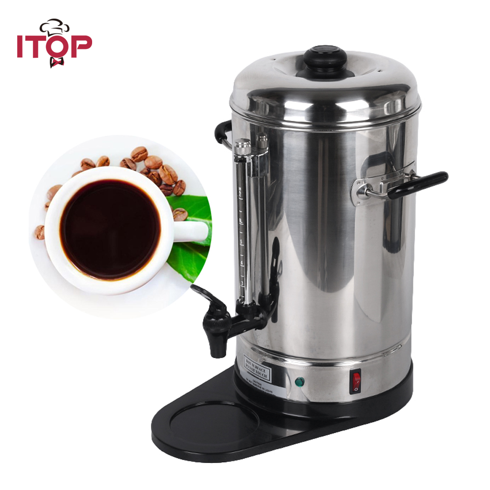 ITOP 6L Stainless Steel Coffee Maker Filter Commercial Percolator Machine For Party Restaurant