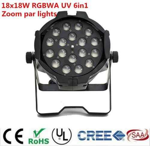 2 pcs/lot 18x18 w zoom lampu par cahaya dmx dj KTV par 64 uv 6in1 rgbwa led par light untuk dj party disco