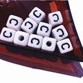 Precio al por mayor 550 Unids/lote Sola Letra C Impresión de la Letra Del Alfabeto de Acrílico Perlas, Envío Libre Plástico Cuadrado Cubo de la Letra