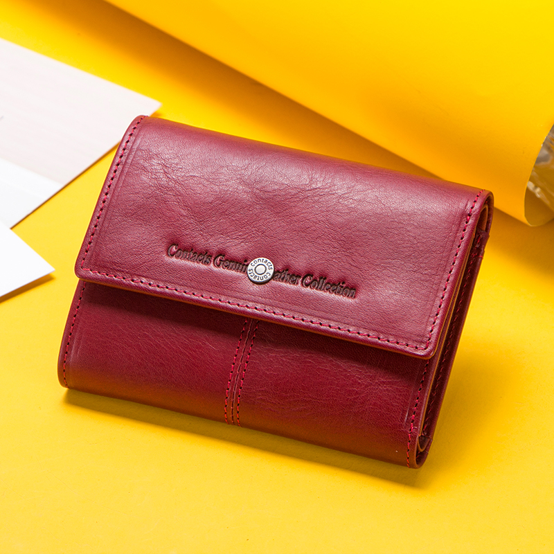 Contact's Fashion Coin Purse Zipper Wallet Genuine Leather Women Wallets Small Money Bag For Ladies Short Billfold Card Holder