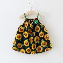 Girls Summer Sunflower Dress 2017 Children Clothing Sleeveless Sunflower Flowers Print for Baby Girls Dress 1-3Y